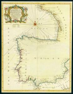 Map Of Spain Oceans.Details About 1746 Antique Map Spain Portugal France Bay Of Biscay Western Ocean Sea Lm6
