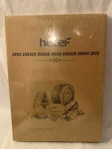 Hecef Cheese Board Set of 3 Wood Cheese Plate & Cheese Knife Set New Sealed