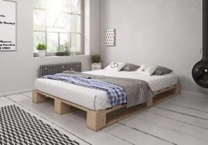Details zu Palettenbett aus Holz Holzbett Massivholzbett Bett aus Paletten  Palettenmöbel
