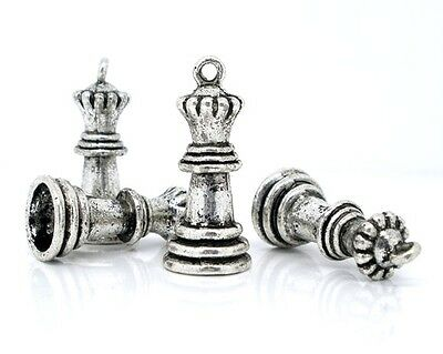 SILVER TONE 3D CHESS PIECE QUEEN CHARMS