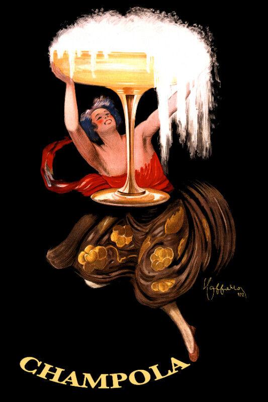 Vintage Decoration & Design Poster. Champagne. Champola. Glass.Art Decor.25