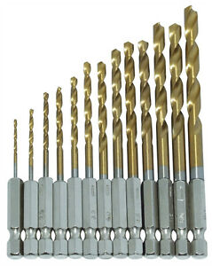 13PC-HSS-Titanium-Coated-Drill-Bit-Set-1-4-HEX-Shanks-1-5-6-5MM-Bits-High-Speed