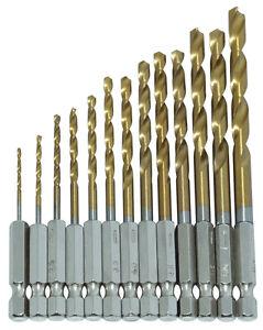 13PC-HSS-Titanium-Coated-Drill-Bit-Set-1-4-HEX-Shanks-1-5-6-5MM-Bits-High-Speed