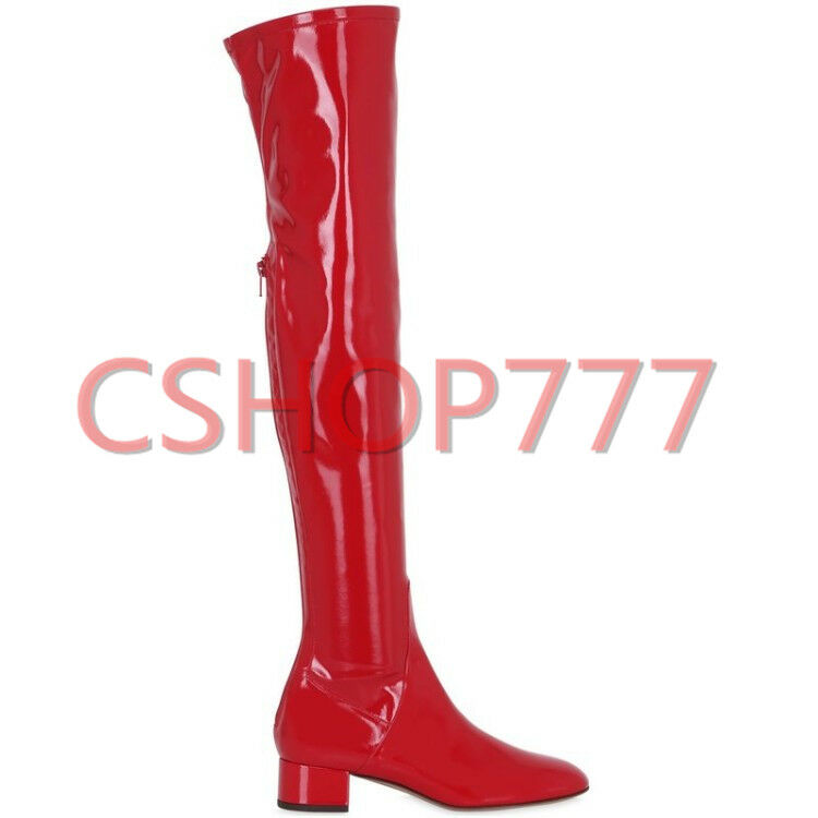 New Womens patent Leather over the knee long high Boots zip cuban heels Pumps SZ