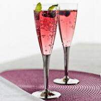 Christmas Champagne Flutes Disposable Plastic Glasses Reusable Party Uk 100 Set