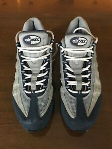 separation shoes fc975 09e5a Image is loading Nike-Air-Max-95-Silver-Blue-604118044-Men-