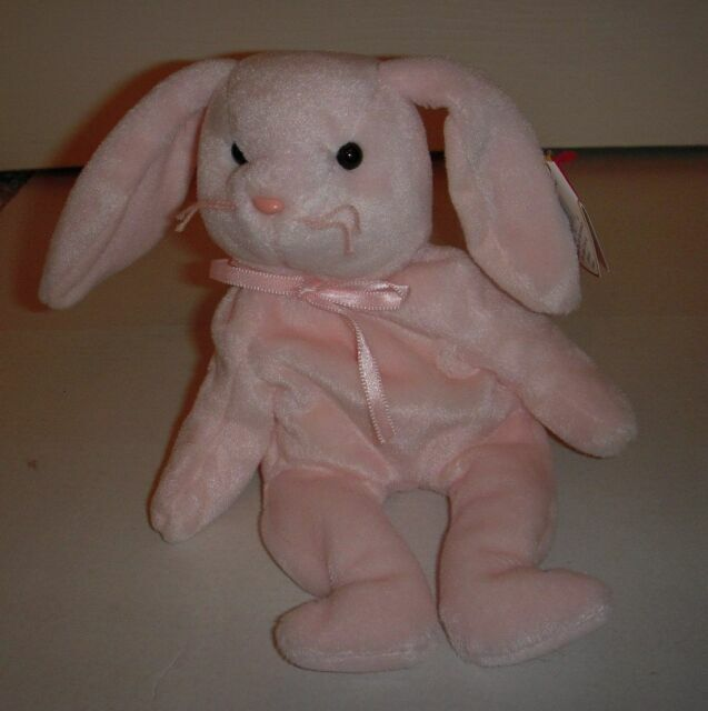 4117 Ty Beanie Babies Rabbit Baby Shower Birthday Party One Dozen 12 New HOPPITY The PINK BUNNY 6in Never Displayed