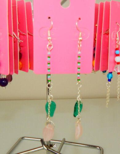 Czech Glass Earrings silver gold ear hooks Dangly Colourful