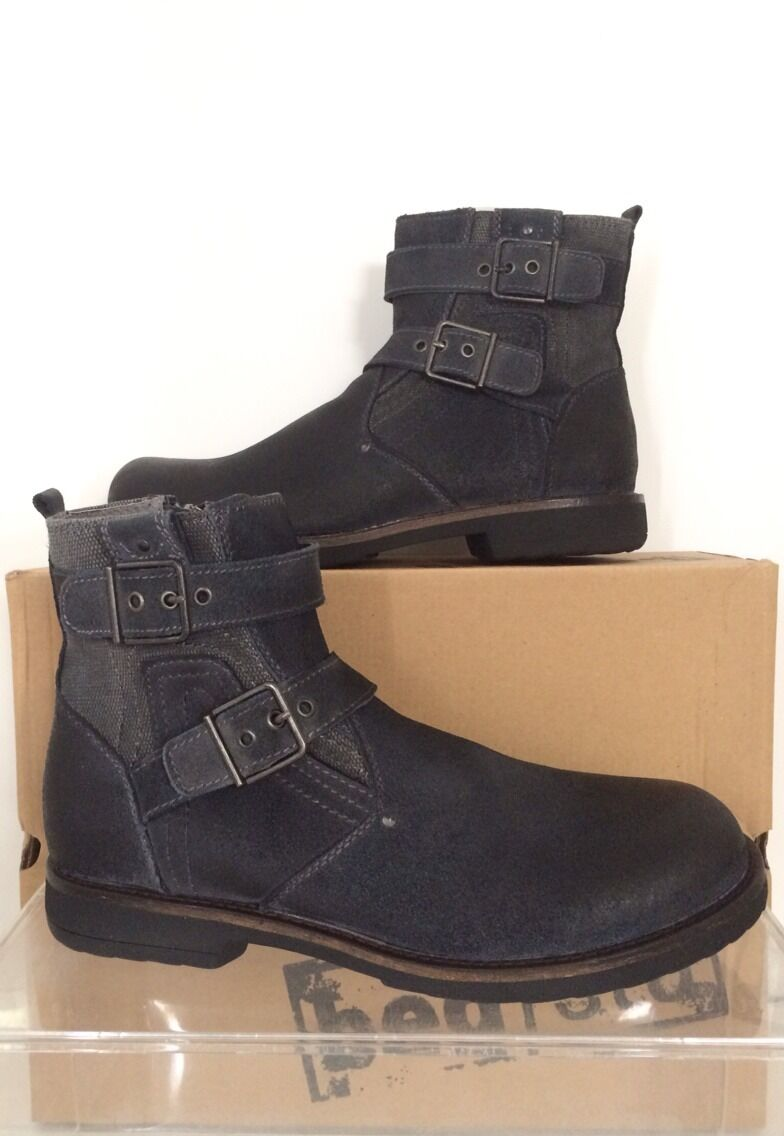 Bed Stu Mens Trade Grey Suede Brushed Leather Boots 9