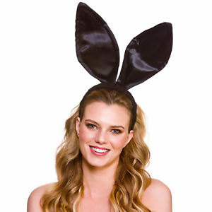 Large Black Satin Bunny Ears On Headband Fancy Dress Rabbit Costume Accessory
