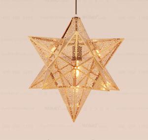 Details About 40cm Gold Star Aluminum Chandelier Ceiling Lighting Pendant Lamp Light Fixtures