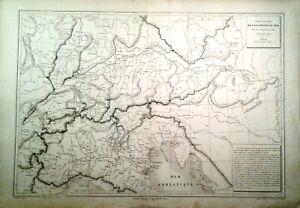 Cartina Geografica Germania Del Sud.Dettagli Su Carta Geografica Antica Germania Del Sud Italia Alpi Belin 1870 Old Antique Map