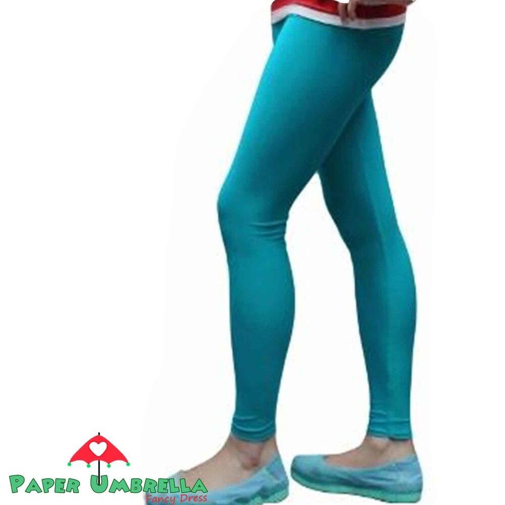 AgréAble Femme Bleu Turquoise Leggings Lycra Uni Pantalon Costume Robe Fantaisie PréVenir Le Grisonnement Des Cheveux Et Aider à Conserver Le Teint