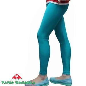 Ladies Womens Turquoise Blue Leggings Lycra Plain Trouser Costume Fancy Dress