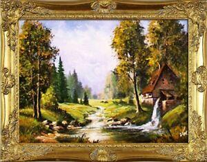Gemaelde-Natur-Wald-Lichtung-Handarbeit-Olbild-Bild-Olbilder-Rahmen-Bilder-G05832