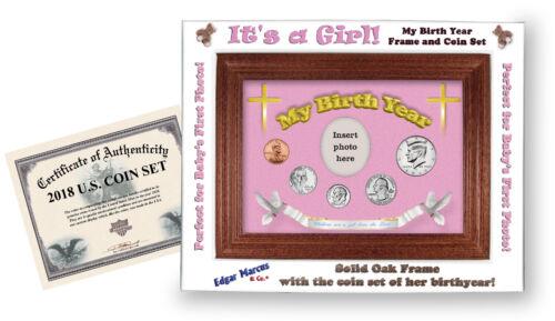 Framed Birth Year Coin Gift Set For Girls 2018 Cross Motif