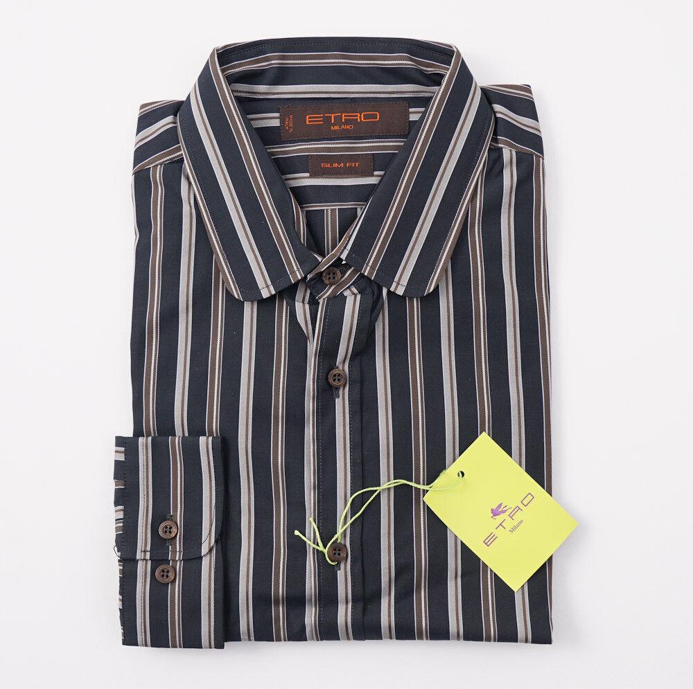 NWT  ETRO Dark Teal bluee-Green Stripe Cotton Dress Shirt M (Eu 39)