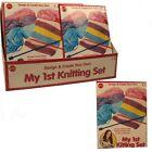 Childs Kids Girls My First 1st Plastic Knitting Childrens Craft Set Kit
