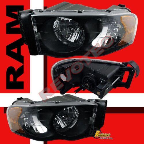 02-05 Dodge Ram 1500 2500 3500 Black Headlights /& Tail Lights Set