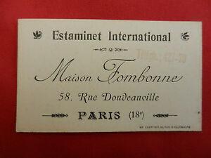 Ancienne Carte De Visite Estaminet International Maison Fombonne