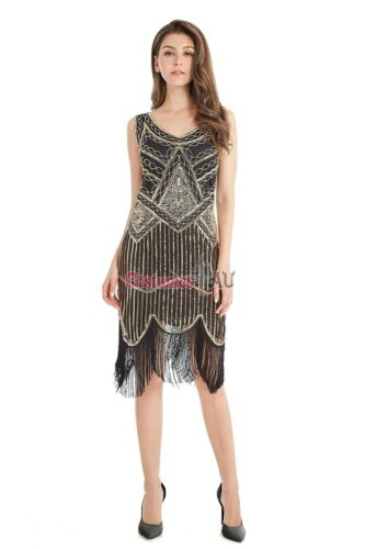 Deluxe Ladies 20s 1920s Roaring Flapper Costume Sequin Gatsby 20/'s Fancy Dress