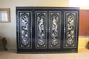 Image Is Loading Vintage Mother Of Pearl And Black Lacquer Armoire