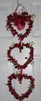 Valentine's Day Berry Garland 3 Hearts Primitive Door Rustic Hanging Decor