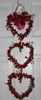 Valentine's Day Berry Garland 3 Hearts Primitive Door Rustic Hanging Decor