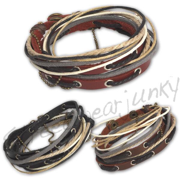 100% Wahr ★wickelarmband Vintage Surfer Style Armband Leder Unisex Bracelet Leather D320★