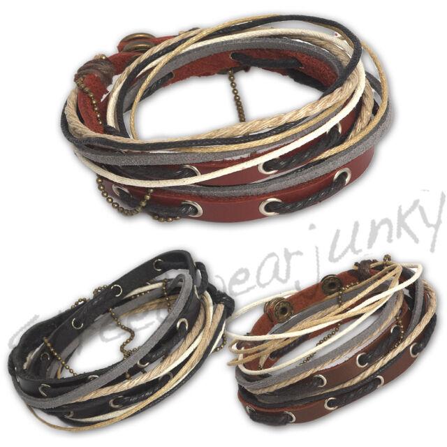 ★Wickelarmband Vintage Surfer Style Armband Leder Unisex Bracelet Leather D320★