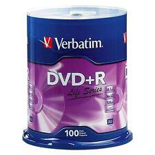 100 VERBATIM Life Series DVD+R 16X Branded Logo 4.7GB Media Disc Spindle 97175