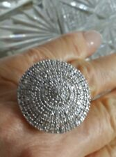 NEW RARE HUGE PLATINUM*227 PAVED DIAMOND STERLING SILVER COCKTAIL CLUSTER RING 8