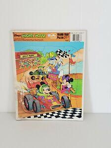 VTG Disney's Mickey Mouse Puzzle Frame-Tray Golden 4088 Racecar Minnie Donald Mi