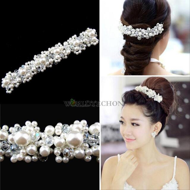 Faux Pearl Bridal Wedding Bride Crystal Rhinestone Hair Flower Applique Clip