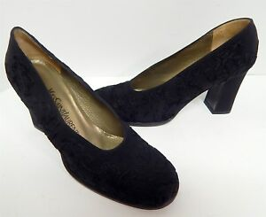 7bff03826117 Details about YSL Yves Saint Laurent 10 M Vintage Black Embroidered Floral  Chunky Heel Pumps