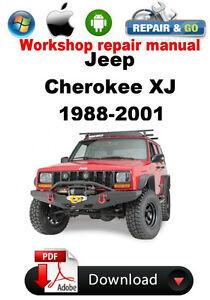 jeep cherokee xj 1988 2001 factory workshop repair manual ebay rh ebay com jeep yj factory service manual pdf jeep factory manual