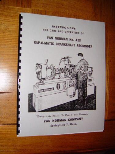 Van Norman Model 438 Crankshaft Grinder Manual
