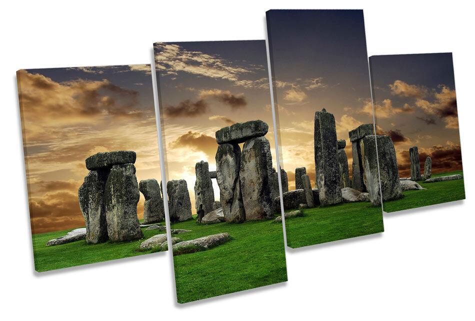 STONEHENGE LANDMARK LANDMARK LANDMARK SUNSET Multi Canvas WALL ART PICTURE PRINT e70663