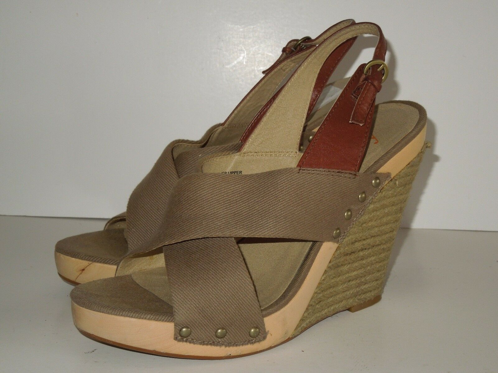LEVITY WOODEN LEATHER/FABRIC HEELS, OLIVE WEDGES SLING BACK SHOES OLIVE HEELS, GREEN /BROWN 8 db3cbe