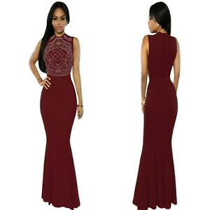 Sz-L-12-14-Sleeveless-Red-Formal-Cocktail-Party-Wedding-Gown-Evening-Long-Dress