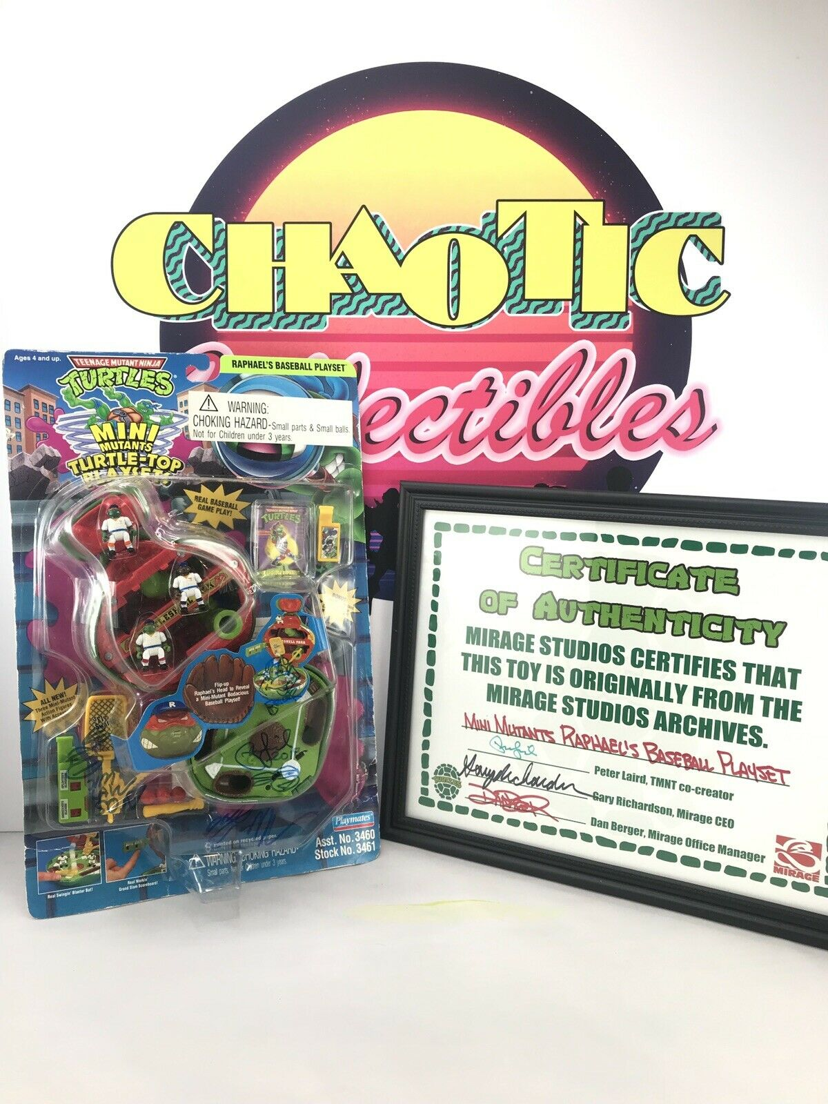 Teenage Mutant Ninja Turtles  década de 1990  Mini Micro Mutantes Raphael's béisbol Playset Tortuga Top  Firmado
