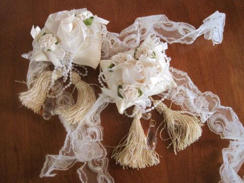 Pair of Ribbon Roses N Crystal Pendant Curtain Tiebacks A