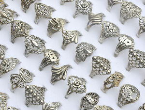 30pcs-Wholesale-Jewelry-Mixed-lots-Tibet-Silver-Rings-Vintage-Style-Party-Gift