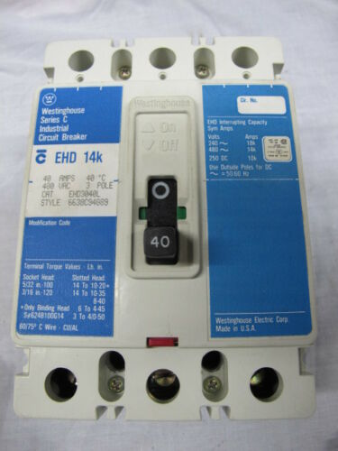 Westinghouse EHD3040 3 POLE 40 AMP 40 AMP Circuit Breaker WARRANTY