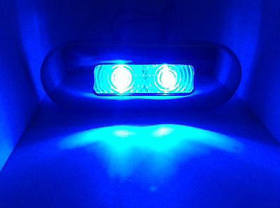 MARINE BOAT BLUE LED OBLONG COURTESY LIGHT WITH STAINLESS STEEL RIM