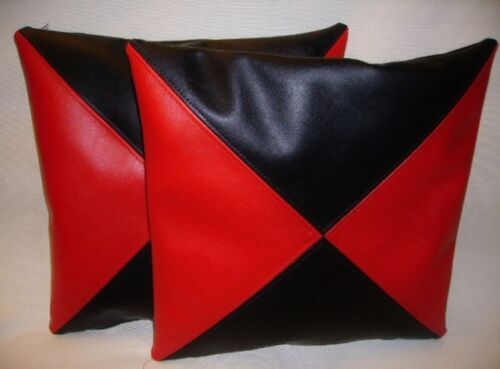 """2 Negro y Rojo triangular Imitación Cuero Cushion Covers Almohadas de dispersión 16/"""" 18/"""" 20/"""""""