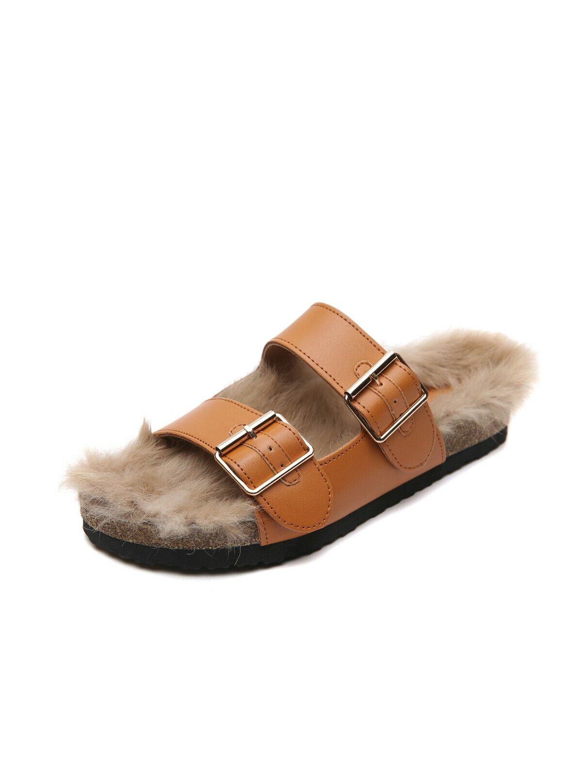 Stiefel Hausschuhe Winter Beige Weich Heiß Pelz Leder Kunststoff 9572