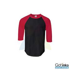 New Mens Raglan 3/4 Sleeve Baseball Plain Tee Jersey Team Sports T-Shirt S-3XL