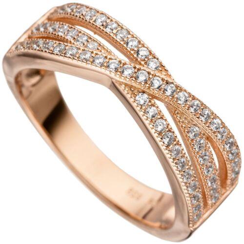 NEU Damen Ring 925 echt Sterling Silber Zirkonia Rosegold vergoldet Gr 52-60