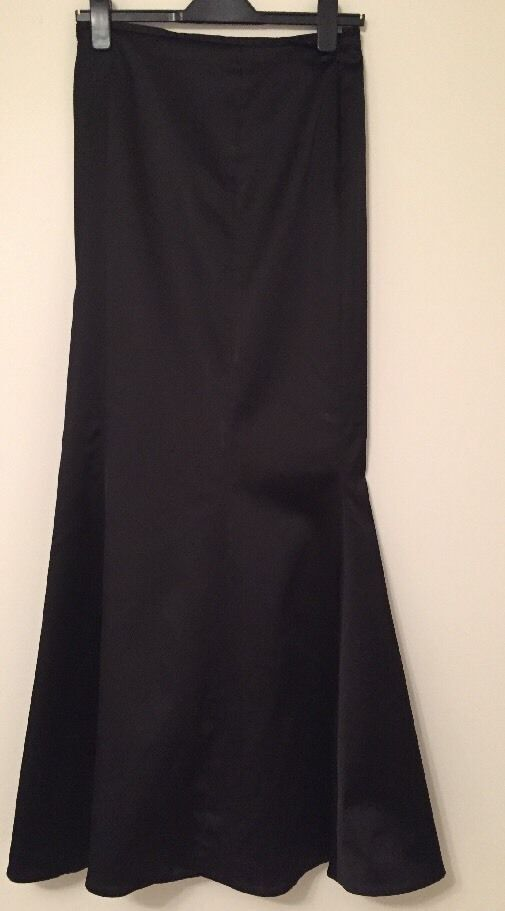 Gorgeous Coast Fishtail Satin Maxi Skirt 50s Dark Burgundy Wine Size 14 Party